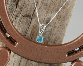 Sterling Silver Pendant/Necklace-Swiss Blue Topaz Pendant/Necklace - Sterling Silver Setting with a 6mm Natural Swiss Blue Topaz Stone