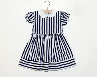 Vintage Jayne Copeland Girls Striped Blue and White Sailor Nautical Dress Size 4T