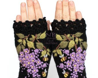 Knitted Fingerless Gloves, Black, Lilac, Bees, Gloves & Mittens, Gift Ideas, For Her, Winter Accessories