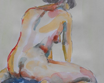 Original figure study, pen and ink, watercolour washes, from life, female model, kneeling, back view, gesture, 11 X 14, Figure 97