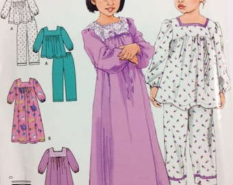 It's So Easy, It's Simplicity 4035, Girl's Pajamas and Nightgown Pattern, Toddler Pattern, Size 1/2, 1, 2, 3, 4, Uncut