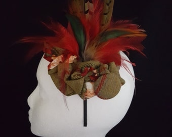 Molly - Tweed Feather Headpiece - Handmade In England By House Of Harrie Hattie