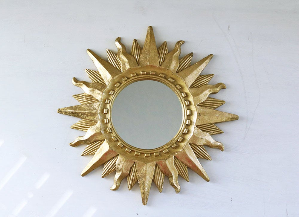 Sunburst mirror small gold vintage accent mirror for Small gold mirror