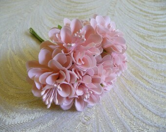 Small Paechy Pink Flowers Bunch of 6 Blossoms with Stamens for Hats Fascinators Floral Crowns Crafts