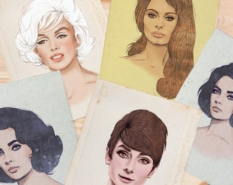 Fashion Illustration, Large Wall Art Print by Rachel Corcoran - Audrey Hepburn, Marilyn Monroe, Elizabeth Taylor, Sophia Loren - Portrait