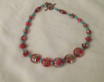 Summer colors in red beaded necklace