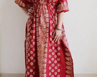Caftan dress, summer dress, beach cover up, Indian caftan, beach caftan, cotton caftan, fancy caftan, long kaftan, maxi dress (Red SB)