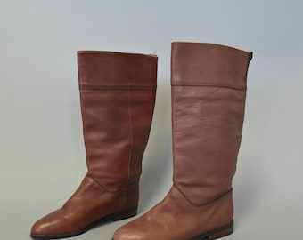 1980s periwinkle leather riding boots - size 8 1/2