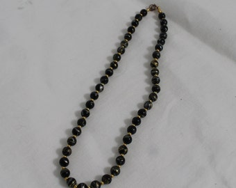 Beaded Black Necklace Marbleized with Gold and Silver Swirls