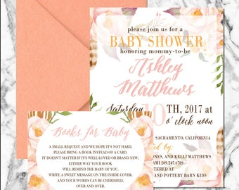 Fall Floral Baby Shower Invitation (digital file)