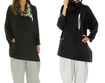 HR800SW1 tunic layered look shirt asymmetrical Gr. 40-52 black