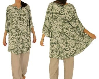 HY700GN ladies oversize tunic blouse plus size size 46 48 50 52 54 56 58 60 green/white rayon