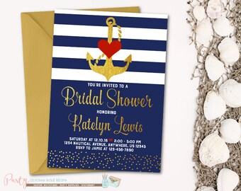 Nautical Bridal Shower Invitation, Bridal Shower Invitation, Navy and Gold Bridal Shower Invitation, Nautical Invitation, Anchor Invitation