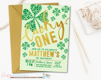 St. Patrick's Day Birthday Invitation, Shamrock Invitation, Shamrock Birthday Invitation, St. Patrick's Day Invitation, Green and Gold