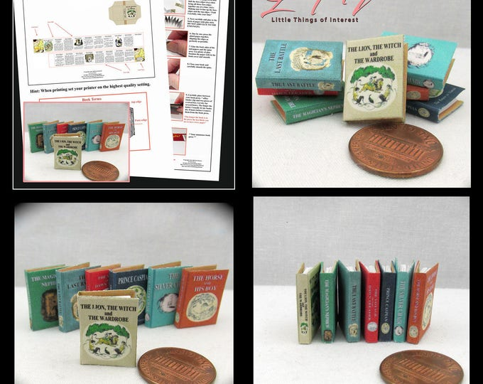 7 The CHRONICLES Of NARNIA Dollhouse Miniature Book Kit 1:12 Full Set Miniature Books Kit for 7 Books DIY The Lion the Witch The Wardrobe