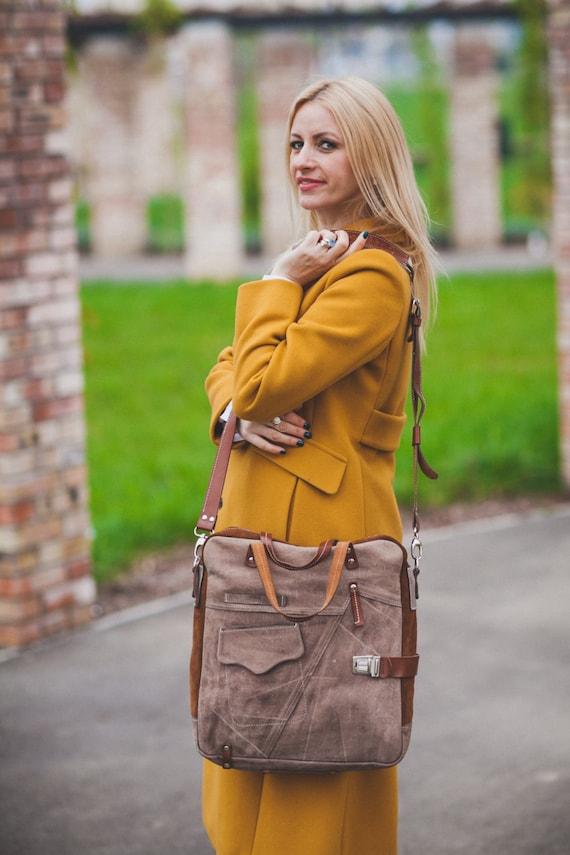 Brushed Leather Messenger Bag, Leather Vertical Laptop Bag, Unisex Leather Bag, Zippered Leather Bag, Man Leather Bag, Woman Laptop Bag,