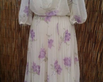 Summer Sale Vintage 70's Off The Shoulder Ivory White and Lavender Floral Pleated Maxi Dress
