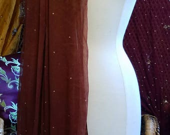 Cinnamon brown dupatta scarf veil stole silk Georgette beaded sequin gypsy boho wrap glam belly dance tribal witch Gothic Renaissance