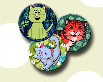 """CUTE CATS  Digital Collage Sheet 2.625 inch round images for 2.25"""" buttons and button magnets.  Instant Download #184."""