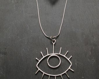 EYE Necklace // Eco Sterling Silver 925 Wire //