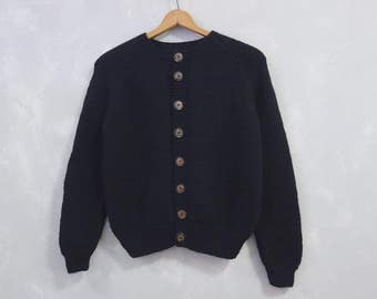 Handknit Black Chunky Sweater Sz M