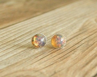 Fire  Opal Stud Earrings, 6mm  Sterling Silver Studs, Gemstone Stud Earrings, Pierced Ears, Fire Opal Earrings Sterling Silver Opal Studs