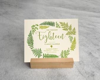2018 Fern Desk Calendar with Wood Stand, Illustrated ferns, botanicals, fern fronds