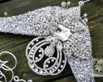 Wedding Dress Hanger - Vintage Brooch Bridal Hanger -Fairytale Wedding -Silver Glitter Wedding Hanger -Original design -Unique Design Hanger