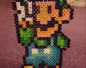 Standing Super Luigi perler sprite