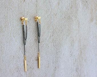 Long Chain Earrings, Chain Dangle Earrings, Double chain earrings, Gold Cube and Black Chain Earrings, Rocker Sytle Earrings, Long Earrings