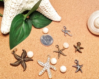 Multi Set Beach Ocean Coastal Inspired Charms Pendants and Mother of Pearl Beads -  DIY Jewelry Charms and Beads
