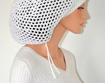 Cotton Dread Tam/ White Cotton Rasta tam/ Cotton White Rasta tam/ White Rastafarian Mega tam/ Crochet Cotton Mega Tam
