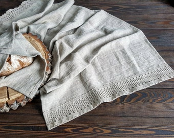 Rustic linen table runner, vintage linen runner, stonewashed farmhouse table runner, rough linen fabric table runner, rustic table decor