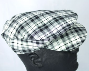 Drivers Flat Cap Plaid | Summer Driving Cap in Tartan Plaid--Black & White --Ivy Cap Touring Cap | Silk Lined | Twill Weave | XS to XXL
