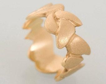 14K Gold leaf ring, Solid Gold wedding ring, Vine Wedding Band, leaves wedding ring, nature inspired, alternative wedding ring, Yellow Gold