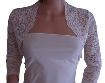 Womens Ivory lace Bolero with 3/4 sleeves  in UK sizes 8 to 18 by Lowlitafashions