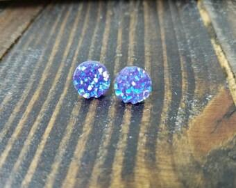 Purple and Blue Faux Druzy Stud Earrings - 12mm