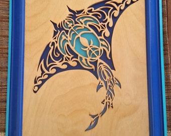 Maori Scroll Saw Portrait Sting Ray, Turtle, Shark