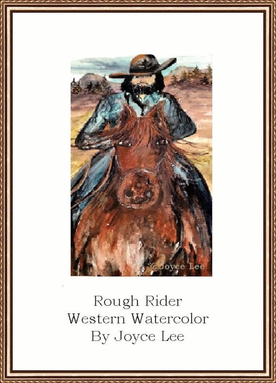 Rough Rider  A Western Watercolor Print By Joyce Lee