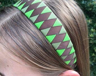 Green / Olive Green / Brown Camo Woven Ribbon 1 Inch Headband