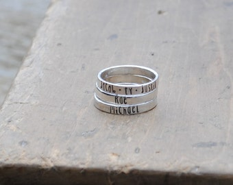 ONE Sterling Stacking Ring . ONE (1) Personalized Silver Stamped Modern Font Ring for Stacking