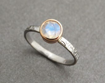 Unique moonstone engagement ring - Rainbow moonstone engagement ring in 14k solid gold, two tone floral ring with moonstone, solitaire ring.