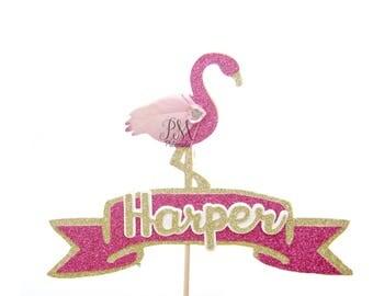 Custom Text Glitter Flamingo Cake Topper - Tropical Birthday Cake Topper, Tropical Birthday, Tropical Party, Flamingo Party