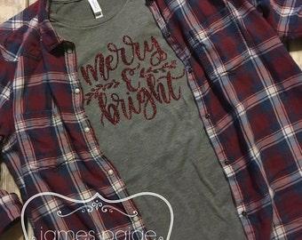 Women's Christmas T-Shirt, Merry & Bright Women's Holiday T-Shirt, Christmas Shirt for Women