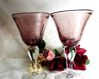 Vintage Amethyst Water Goblet, Flared Bowl, Clear Bulbous Stem, 8 Oz