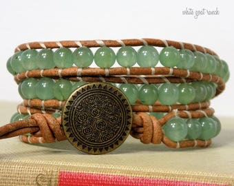 Gemstone Bracelet, Leather Wrap, Green Adventurine, Bohemian Jewelry, Natural Leather, Metal Button