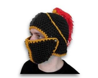 crochet slouch hat, handmade knight hat, winter hat, snowboard hats, knight helmet, dad gift,
