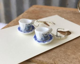 Tea Set Earrings, Tea Cup Earrings, Tea Party Earrings, Alice in Wonderland party, Blue Tea Earrings, Mad TEa Party