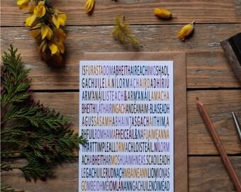 Irish language mindfulness card,  isteach agus amach, as Gaeilge mindful card - gaelic card, blank card,  gaelic mindful card
