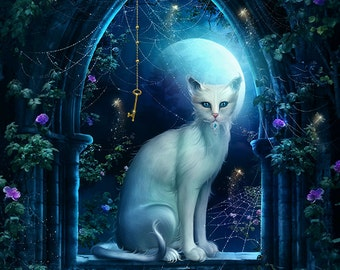 mystical white fantasy cat in window art print